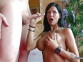 German Young Big Tit Mom DP Fucked by two YFriends of Son