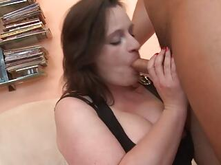 Brunette BBW-Milf with Huge Boobs doing young Guy